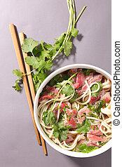 coriandre, soupe, nouilles, boeuf, chinois