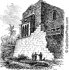 Coricancha or Temple of the Sun, in Cusco, Peru, vintage engraving