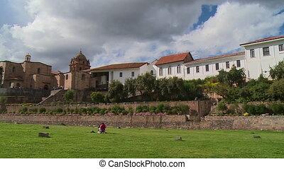 Corincancha Ruins And Catholic Convent, Cusco - Wide panning...