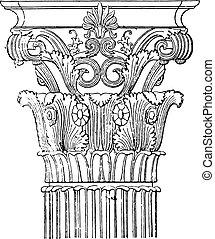 corinthian, capital, de, a, monumento, de, lysicrates, vindima, engraving.