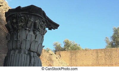 Corinthian capital in archeological site, Hadrian's Villa Rome Italy