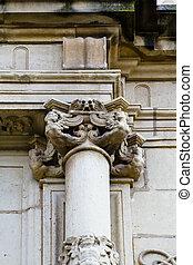 Corinthian column capital , facade of the University of Alcala de Henares, Madrid, Spain