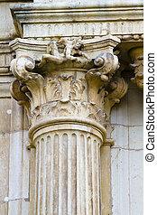 Corinthian column capital, facade of the University of Alcala de Henares, Madrid, Spain