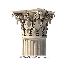 Corinthian column capital isolated on white