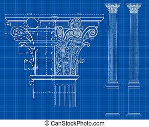 corinthian column - detail of corinthian column with...