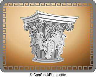Corinthian Column Head - Illustration with an antique...