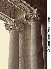 Corinthian columns of St. Peter's Basilica in Vatican, Rome,...
