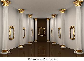 corinthian kolonn, galleri, väggar, perspektiv, beställa