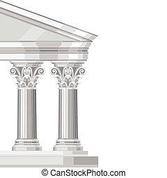 corinthian, realístico, antigüidade, grego, templo, com, colunas