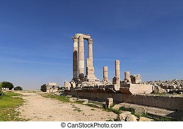 corinthian, romein, jordanië, hercules, heuvel, amman, ...