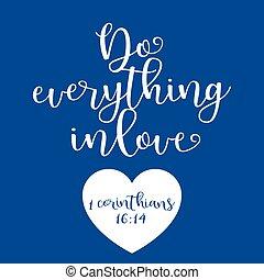 corinthians, amor, biblia, todo, cita, tipografía