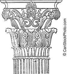 corintio, monumento, capital, engraving., lysicrates, vendimia