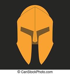 corintio, naranja, bronce, negro, casco, plano de fondo
