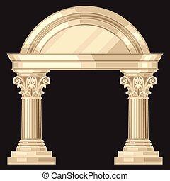 corinzio, realistico, anticaglia, greco, tempio, con, colonne