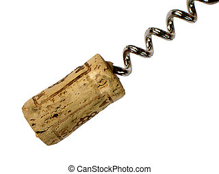Cork and corkscrew on white background
