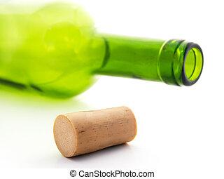 wine bottle - cork and empty wine bottle