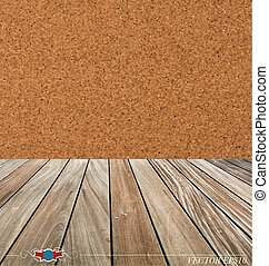 Cork board and wood floor. Vector illustration