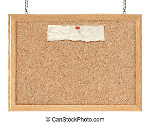 Cork board isolated over white background