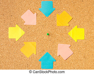 cork board pin pointed arrows