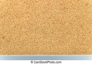 Cork board with aluminium border as texture background