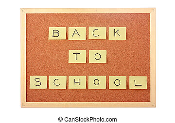 Cork board with back to school note