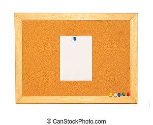 Cork Board with blank note and pin