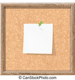Cork Board With Blank Note Paper