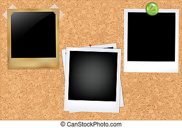 Cork Board With Photos, Vector Illustration