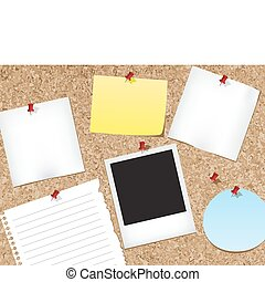 Various items pinned to a cork bulletin board. vector illustration