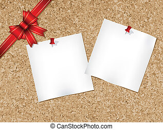 Note pads pinned to a cork bulletin board with red ribbon illustration