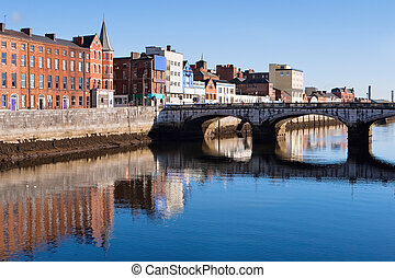 Cork City. Ireland - St Patrick's Quay on the north channel...