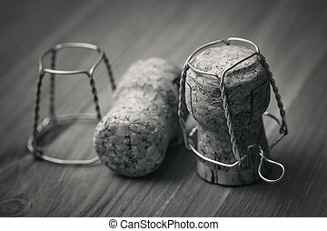 cork from champagne, black and white photography