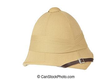 Cork helmet - British cork helmet on white background