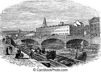 Cork in Munster, Ireland, vintage engraving