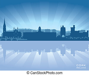 Cork, Ireland skyline with reflection in water