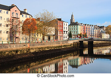 Cork, Ireland - St Patrick's Quay on the north channel of...