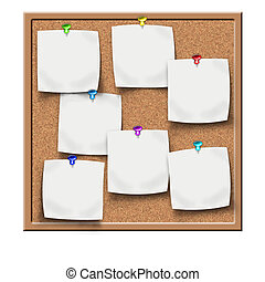 cork notice board with blank sticker notes