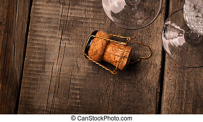 Cork of a champagne bottle