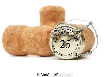 Cork on white background. Anniversary 25