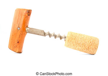 cork-screw on white