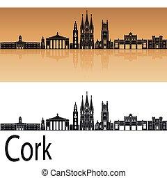 Cork skyline in orange background in editable vector file