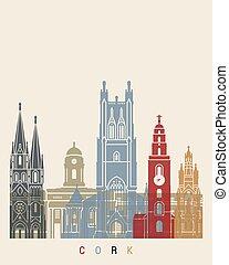 Cork skyline poster in editable vector file