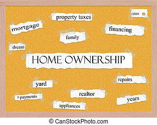 corkboard, 家, 概念, 単語, 所有権