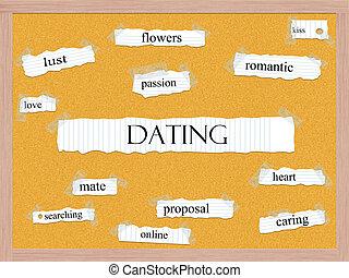 corkboard, 概念, 単語, デートする