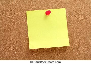 corkboard and notepaper - corkboard, notepaper and pushpin