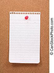 corkboard, notepaper and pushpin