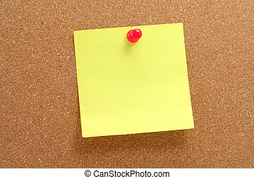 corkboard and notepaper - corkboard, notepaper and pushpin