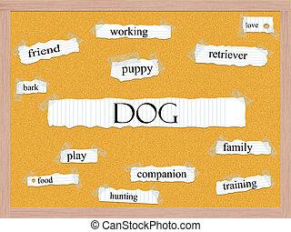 corkboard, begrepp, ord, hund