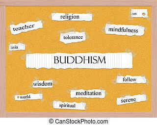 corkboard, budismo, conceito, palavra
