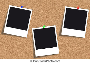 Bulletin board with three Polaroid pictures and different colored thumbtacks